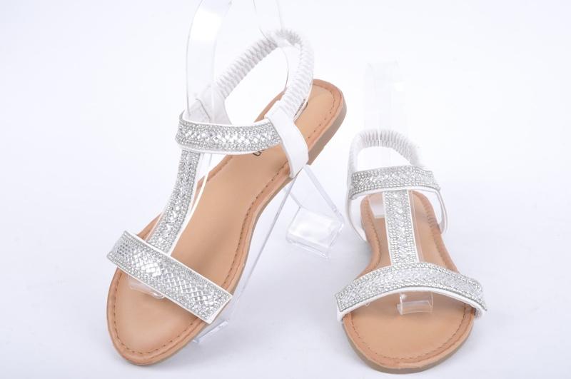 NEW! Дамски бели сандали с камъчета