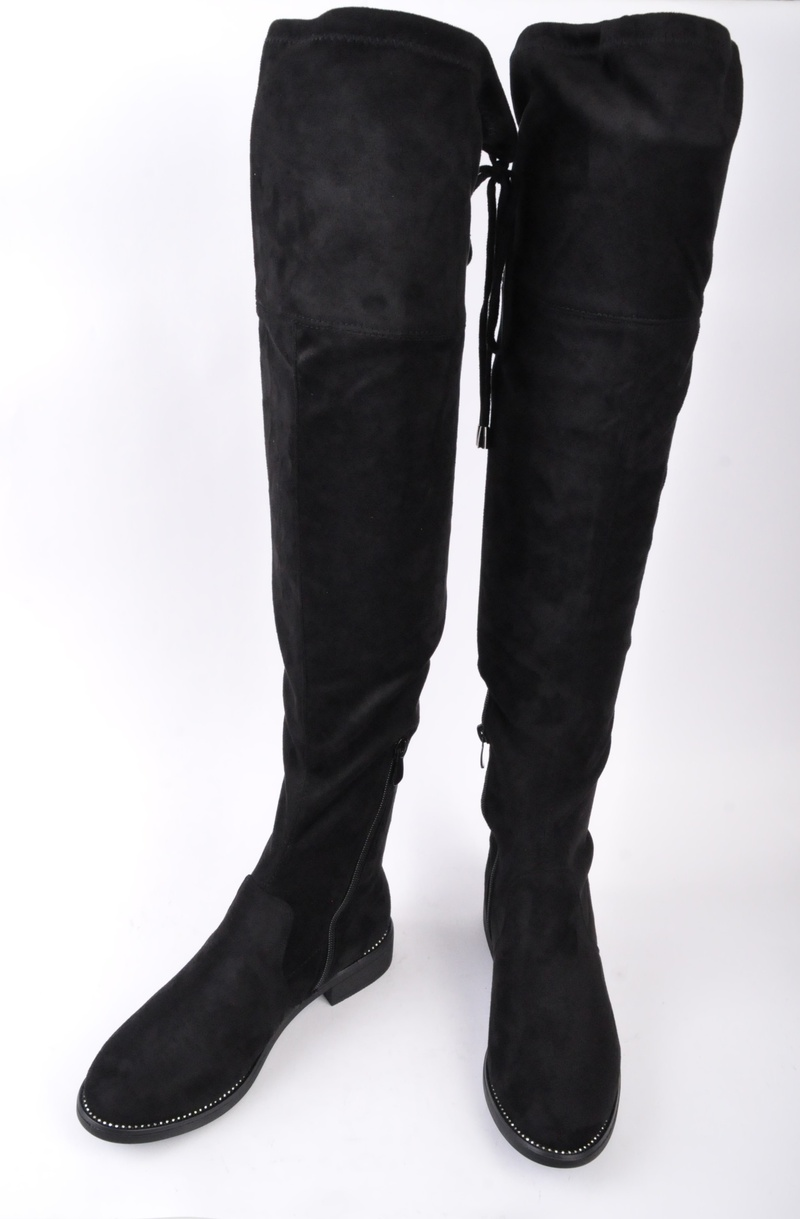 NEW! Дамски чизми велур с връзки