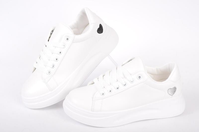 НОВО! Бели кожени кецове-Два цвята