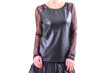 Дамска блуза кожа и дантела в два цвята