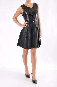 Дамска рокля-Пайети+Кожа