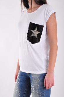 НОВО! Дамска бяла тениска с джоб