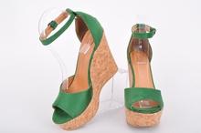 Три цвята- Дамски сандали на платформа-Корк