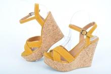 Дамски сандали платформа-Охра