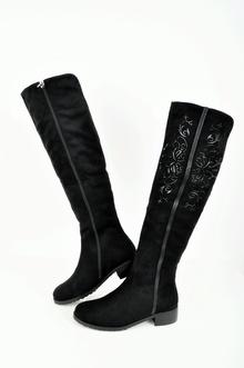 НОВО! Дамски подплатени чизми-Велур