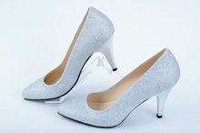 НОВО! Дамски обувки-Сив брокат