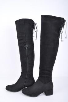 НАМАЛЕНИЕ! Дамски чизми-Велур с връзки