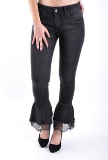Черни дамски дънки с широк крачол