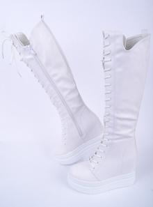 Дамски ботуши-Два цвята-Платформа