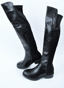 NEW! Дамски чизми Кожа и Стреч