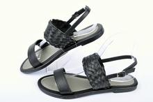 Черни ниски дамски сандали