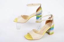 НОВО! Дамски сандали на ток -Шарени