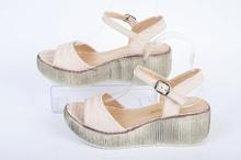 Бежови дамски сандали на платформа